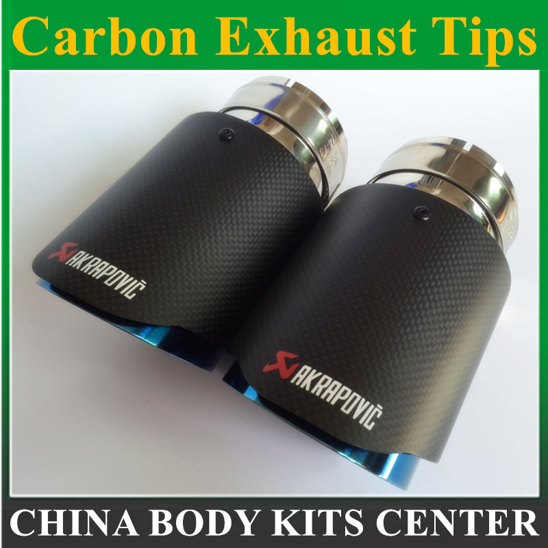 все цены на 2PCS Blue Burnt Carbon Fiber Akrapovic Exhaust Muffler Tip Universal Car Exhaust Tip Inlet 51mm 54mm 57mm 60mm 63mm Outlet 101mm онлайн