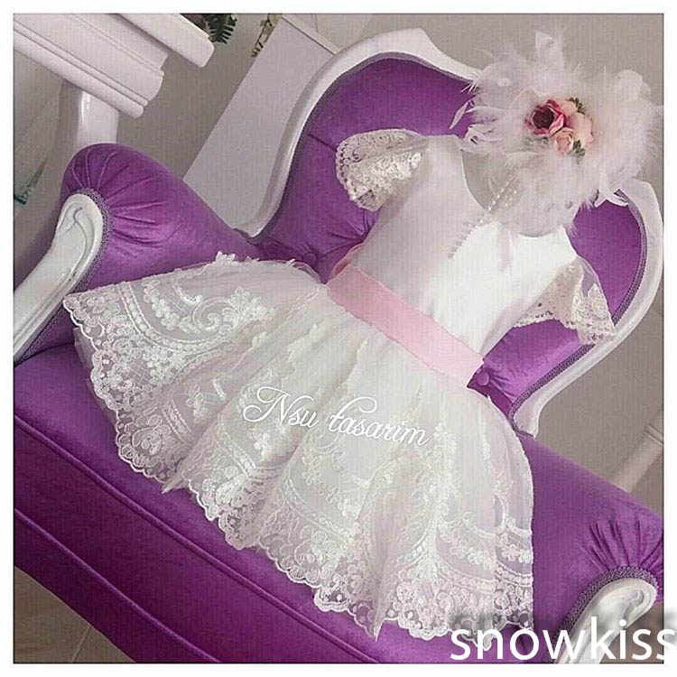 New Knee-Length White Lace flower girl dresses baby Birthday Party Dress toddler girl beauty pageant dresses for kids ball gowns new elegant long sleeves knee length blush pink flower girls dresses glitz pageant dresses baby birthday party dress ball gowns