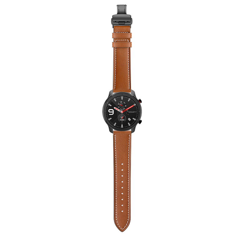 Image 2 - Butterfly clasp Leather Band for Xiaomi Huami Amazfit GTR 47mm 42mm Bracelet Strap for Huami Amazfit Bip lite/Stratos 2/Pace-in Watchbands from Watches