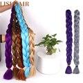 LISI синтетические косички для вязания крючком, плетеные волосы, один кусок, 82 дюйма, 165 дюйма, искусственный цвет, удлинители волос