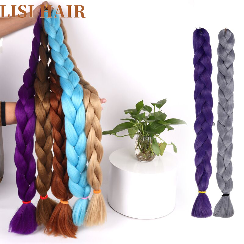 Hair Braids Hair Extensions & Wigs Lisi Hair Synthetic Crochet Braids Kanekalon In Jumbo Braiding Hair One Piece 82 Inch 165g/pcs Pure Color In Hair Extensions Fashionable Patterns