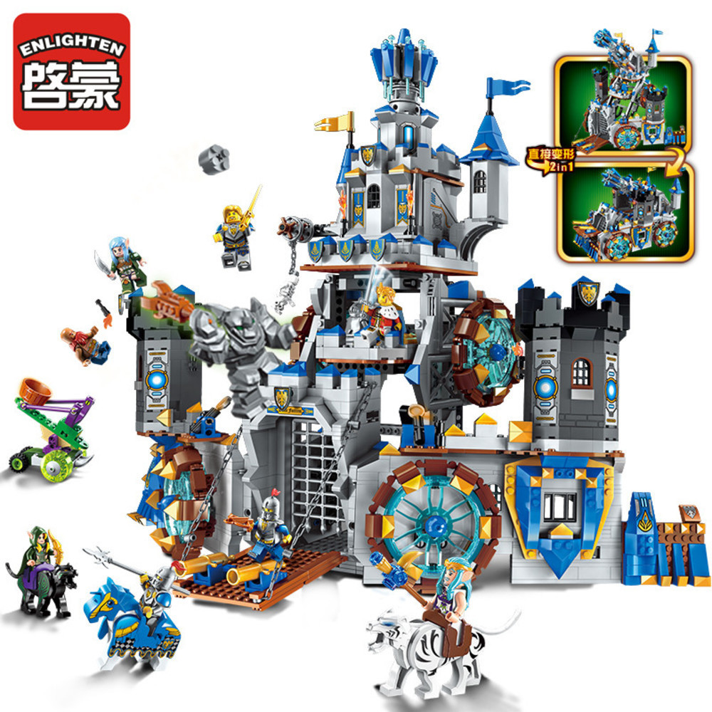 Enlighten Building Block War of Glory Castle Knights The Battle Bunker 9 Figures 1541pcs Educational Bricks Toy Boy Gift enlighten new 2315 656pcs war of glory castle knights the sliver hawk castle 6 figures building block brick toys for children