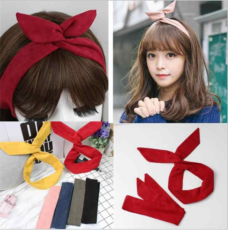 Korean Suede Retro Solid Color Rabbit Ears Headbands Metal Wire Scarf Cross Bow Hairbands Hair Accessories