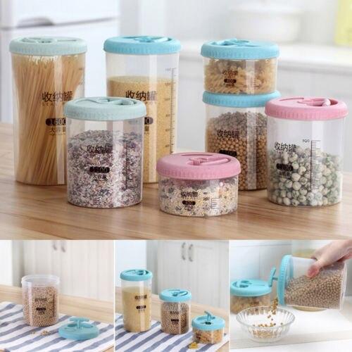 Plastic Kitchen Food Cereal Grain Bean Rice Storage Box Container Case Organizer