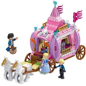 Image 4 - 731PCS Gril Freunde Prinzessin Windsor Burg Cinderella Prinzessin Royal Carriage Modell Bausteine Kit Spielzeug Geschenk