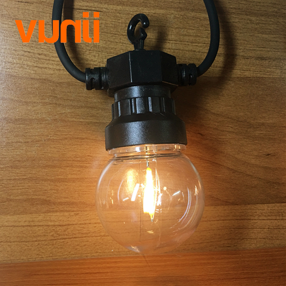 VUNJI IP65 Clear Globe G50 Filament Lamp Connectable Outdoor String Lights For Party World Cup Christmas