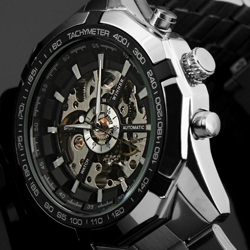 4523e36ace9 Moda Top Marca Vencedor Mens Relógios De Luxo Esqueleto Relógio Homem  Relógio Do Esporte Clássico Presente Mecânico Automático Relogio masculino