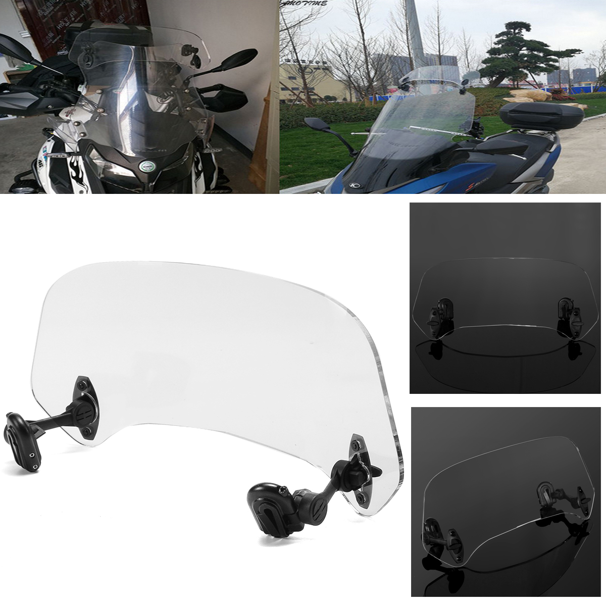 Motorcycle Risen Adjustable Wind Screen Windshield Extension Spoiler Air Deflector Wind Deflector for BMW Kawasaki Yamaha 49 45cm for 125cc 150cc motorcycle windscreen deflector wind deflector wind shield windscherm scooter free shipping