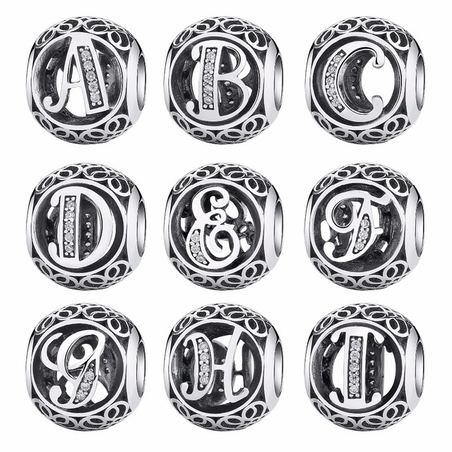 925 Sterling Silver Vintage A to T Clear CZ Letter Alphabet Round Beads Fit BISA