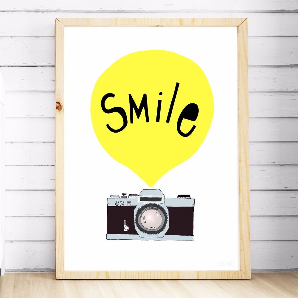 Smile Camera Nursery Canvas Art Print Painting Poster Wall Pictures ...