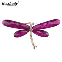 Best lady Brand Fashion Purple Dragonfly Brooches Jewelry New Trendy Animal Pendant Chain Brooches Pins Hot Charm Scarf Bijoux(China)