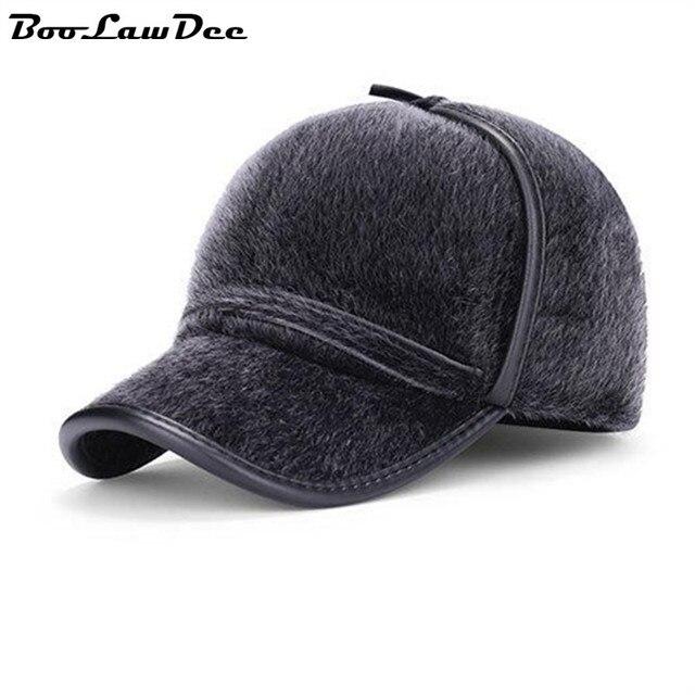 BooLawDee Мужчины зима искусственного норки волос бейсбол earcuff крышка утолщение потепление для пожилых взрослых мужской черный серый 4C010