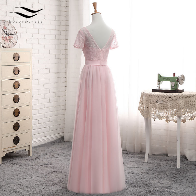 Solovedress Elegant Short Sleeves Cheap A Line Pink Tulle Bridesmaid Dress 2017 Lace With Sash vestido de festa longo SLD-PGE027 5