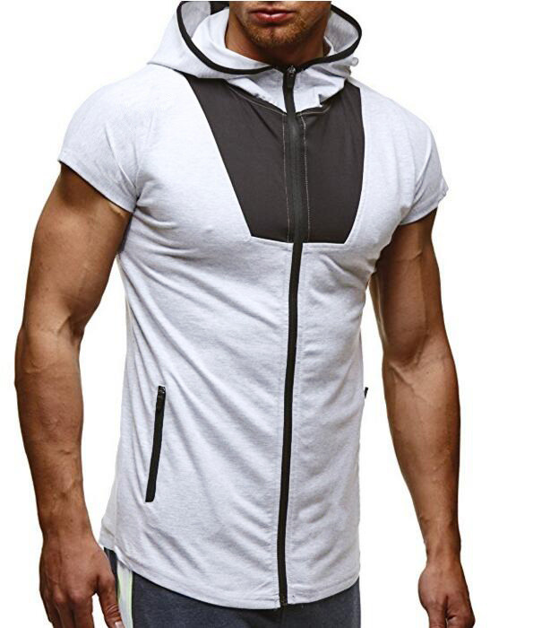 Summer men's casual hooded t-shirt men Men's fitness casual  short-sleeved t-shirt men