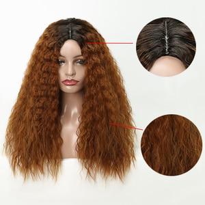 Image 5 - Lisi cabelo 22 inchs para cabelo preto onda de água longo ombre preto/marrom perucas sintéticas afro americano penteado