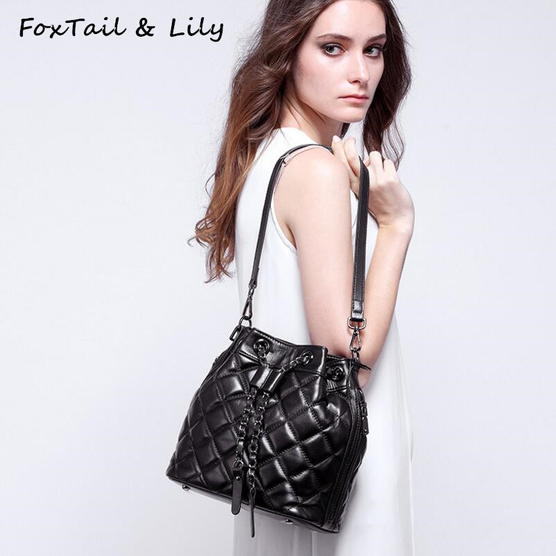 FoxTail & Lily Sheepskin Quilted Chain Shoulder Handbags Bucket Bag Genuine Leather Women Messenger Crossbody Bags High Quality