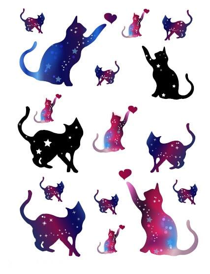 Cats Stars Cartoon Temporary Tattoo Sticker Waterproof Girls Kids Body Art Party Favor Hand Arm Teens Fake Tatoo 15X11cm