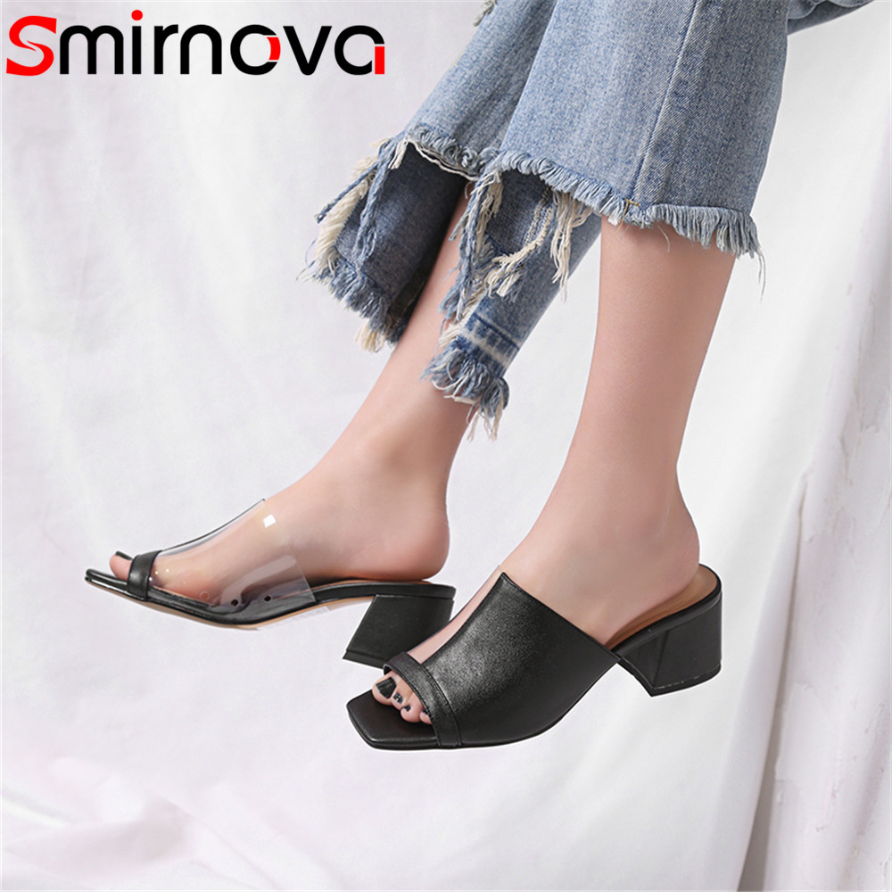 Smirnova black fashion summer new shoes woman peep toe casual mules shoes square heel sandals women genuine leather shoes 2017 new summer fashion women casual shoes genuine leather lady leisure sandals gladiator all match ankle peep toe flowers