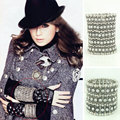 Top quality American and Europe Antique Silver Plated Stretch Multi Rows Bracelets Crystal Elastic Bracelet Jewelry
