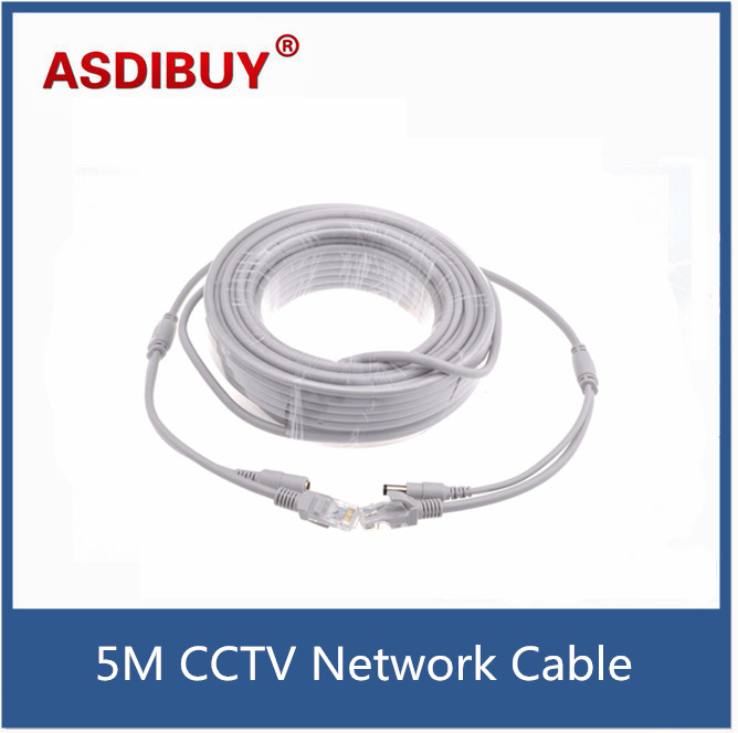 5M CCTV IP Camera Network RJ45 Video Lan Cable 12V DC Power CAT5/5e Extension Ethernet Cable 5M 16.4ft For IP Camera NVR System