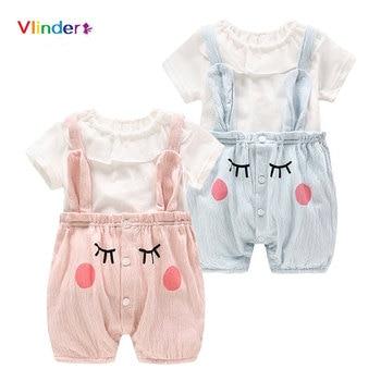 Vlinder New Cute Baby Girls Summer Newborn Clothing Short Sleeves T shirt Suspenders Pants 2pcs Smile Printing Baby Sets
