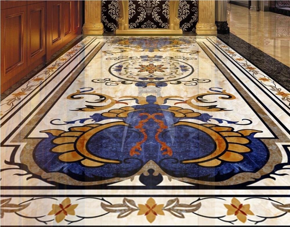 Customsize Photo Painting 3D PVC Floor Wallpaper hd blue pattern marble Flooring Mural bathroom Living room Floor