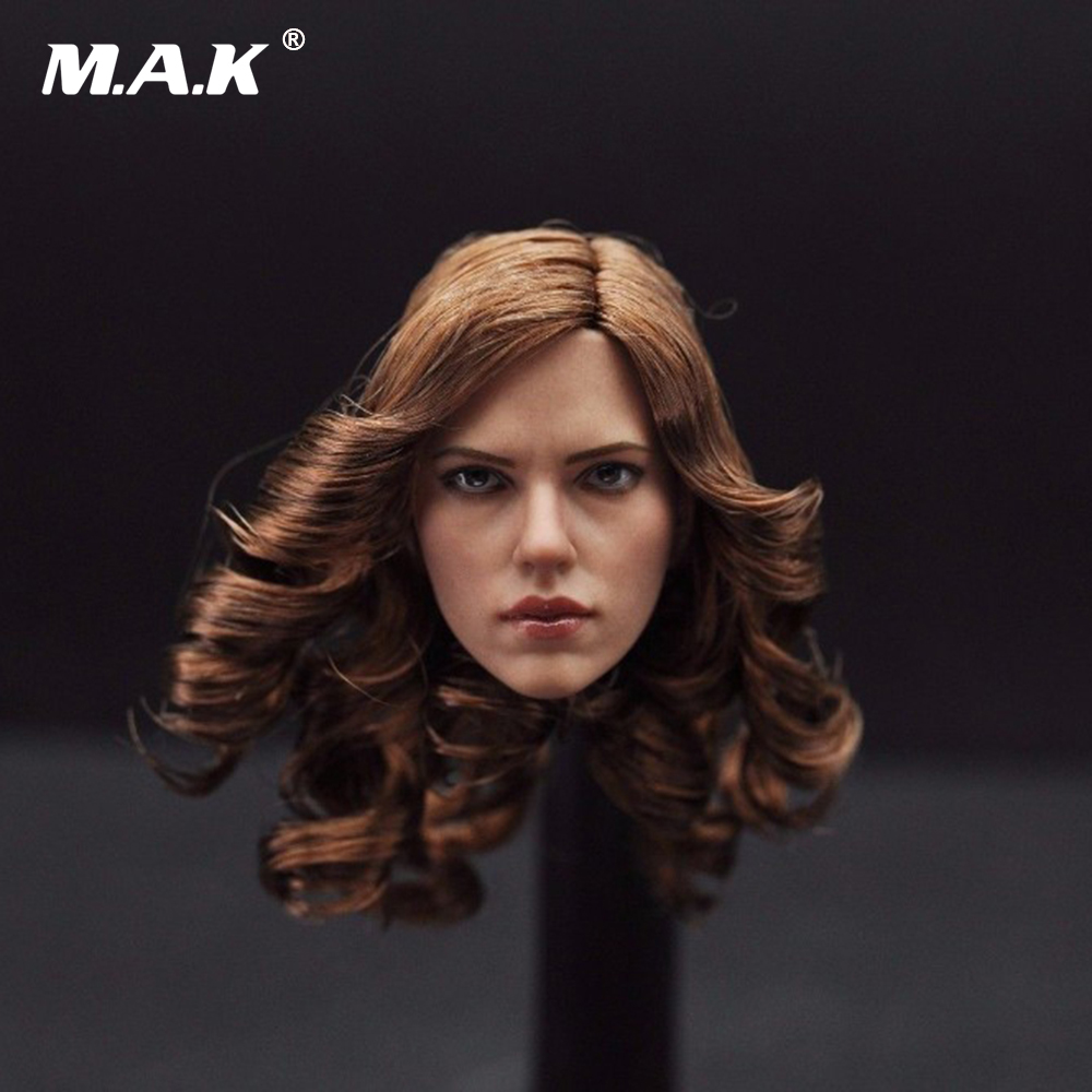 1:6 Scale Scarlett Johansson Black Widow Head Sculpt With Brown Curly Hair Female Headplay Model For 12 Female Figure dstoys d 005 1 6 scale female head sculpt beauty girl headplay long curly hair for 12 ht phicen action figure