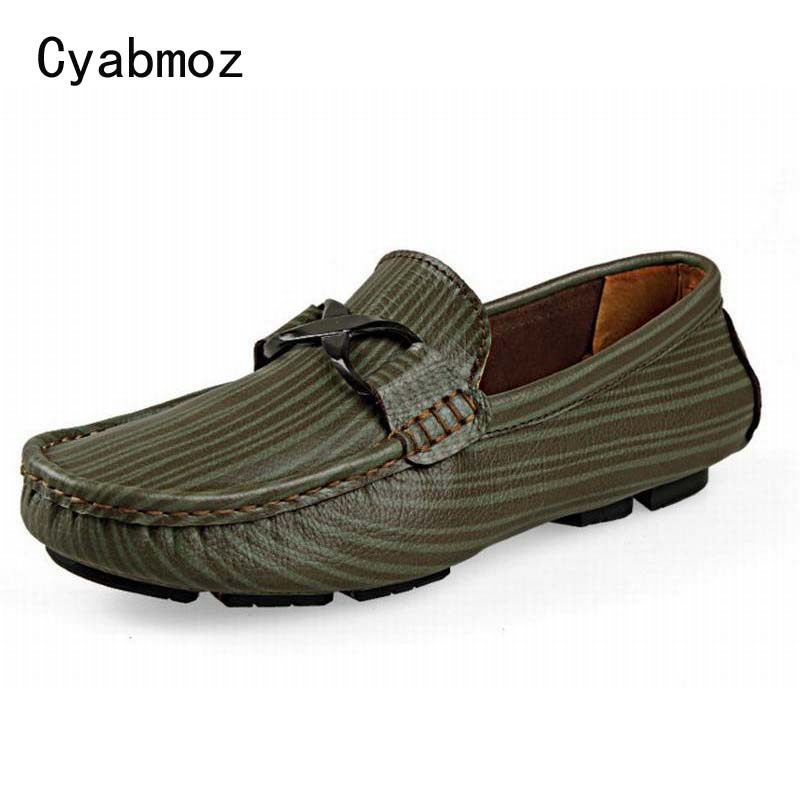 Men Fashion Stripes Casual Shoes Male Comfortable Slip-on Loafers Oxfords Breathable Genuine Leather Moccasins Size 47 48 49 50 cbjsho british style summer men loafers 2017 new casual shoes slip on fashion drivers loafer genuine leather moccasins