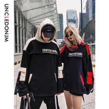UNCLEDONJM Pullover Hoodies Men/Women Casual Hooded Streetwear Sweatshirts Hip Hop Harajuku Pocket Colour Block 535W