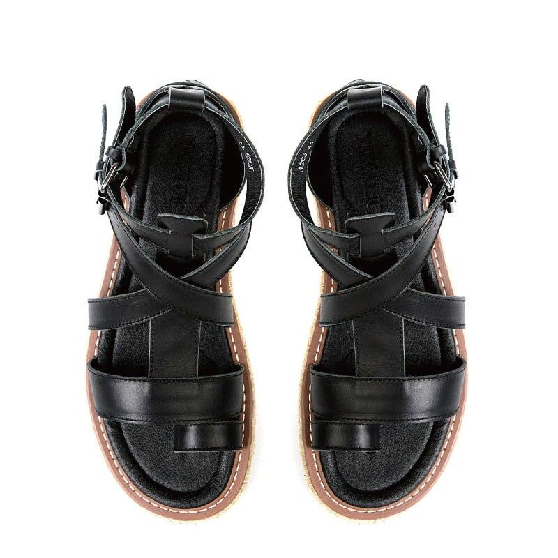 Mens Real Leather Belt Buckle Gladiator Roman Strap flip flops Casual Sandals Shoes Black Plus Size