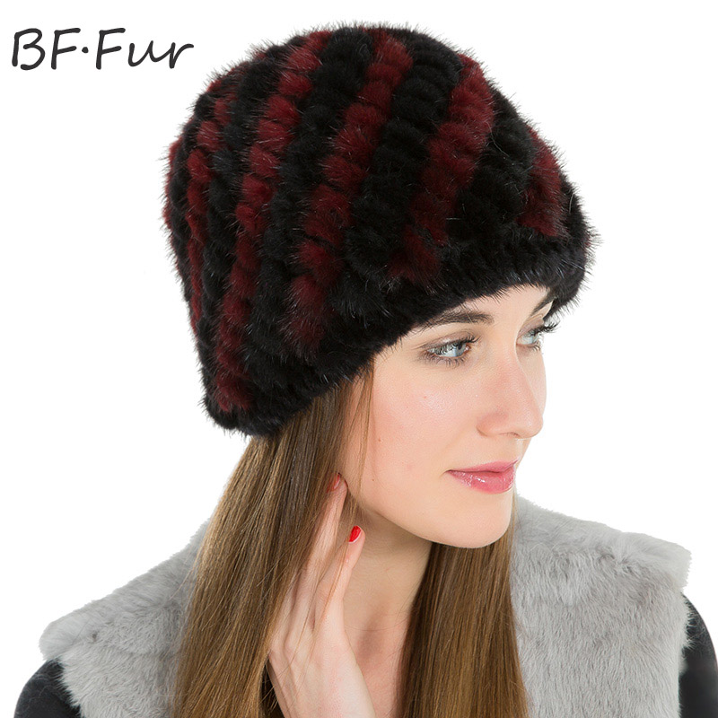 Thread Real Mink Fur Beanies Hat For Female Winter Warm Bonnet Natural Color Animal Hat Women Adult Casual Knitting Cotton Cap russian real mink fur hat for female animal fur winter warm beanies fashion solid color cap natural color bonnet girls hats