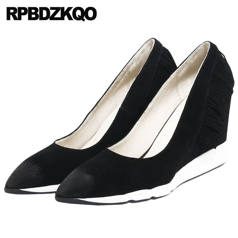 2018 Top Quality High Heels Genuine Leather Black Pumps Size 4 34 Party Shoes For Women Ladies Suede Pointed Toe Wedge Catwalk недорого
