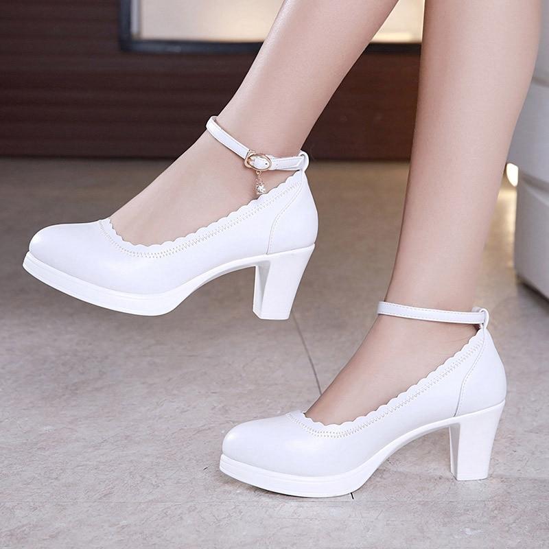 Big Size 32-43 Block Heels Platform Shoes Women Pumps 2019 Medium Heel Spring Wedding Shoes Ladies Office Party Dance Shoe