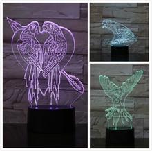 Parrot Table 3D Lamp USB Touch Sensor RBG Novelty Lighting Child Kids Baby Gift Gadget Led Night Light Dropshipping
