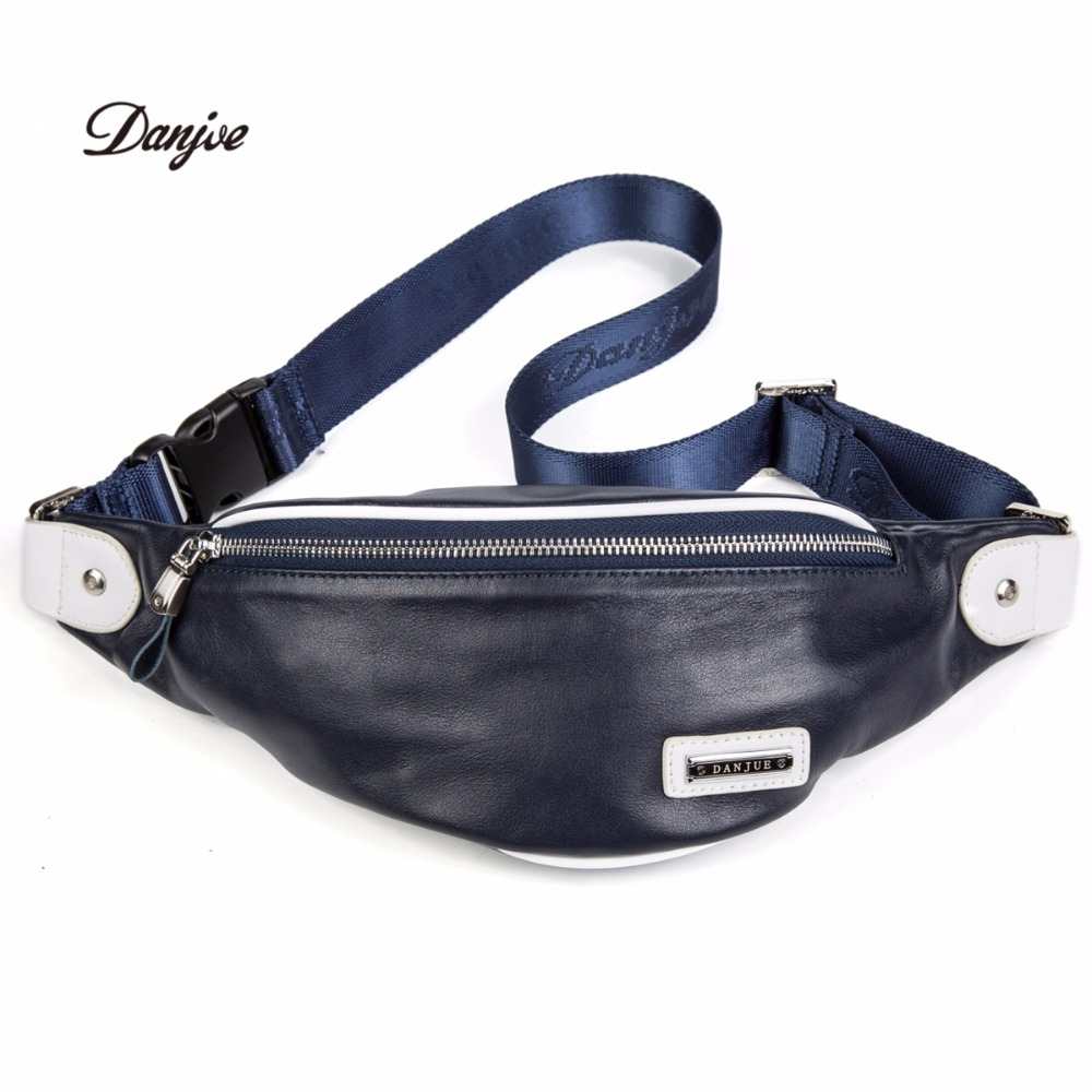DANJUE Genuine Leather Men's Waist Packs Natural Leather Cross-Body Bags For Men Casual  Men Mini  Waist Money Pack Men Bag