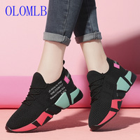 OLOMLB High Quality Women Casual Shoes Fashion Women Sneakers Breathable Mesh Walking Shoes Lace Up Flat Off White Shoes Women