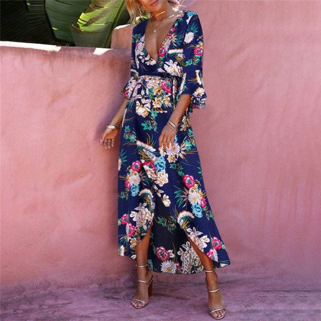 c11a7af74aed Summer V Plunge Floral Printed Ladies Kimono Beach Dress Sex Holiday Maxi  Wrap Women Dress