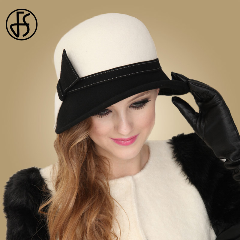 FS Wide Brim White Wool Hats Bow Bowler Fedora Hat For Women Chapeau Femme Feutre Winter