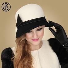 FS Wide Brim White Wool Hats Bow Bowler Fedora Hat For Women Chapeau Femme Feutre Winter Cloche Ladies Church Felt Fedoras Caps