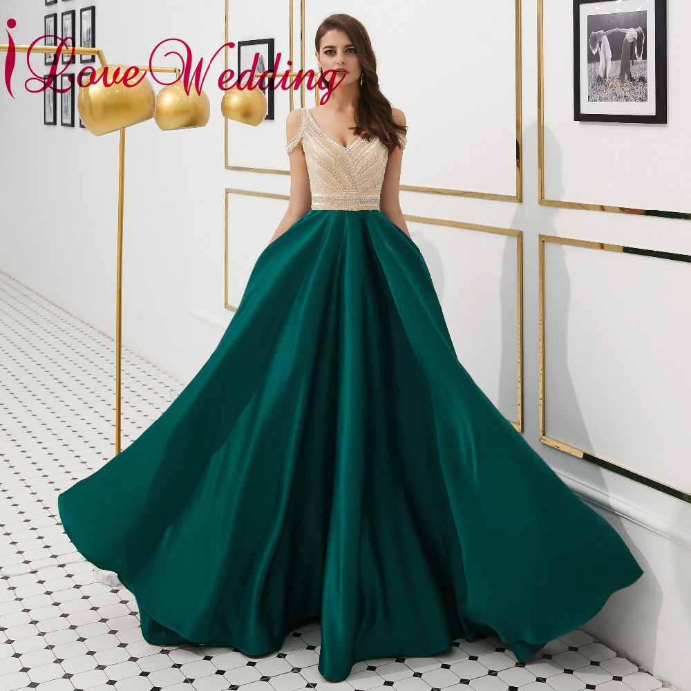 iLoveWedding 2019 Luxury Evening Dress Sexy V Neck Green Satin A Line Floor Length Heavy Beading