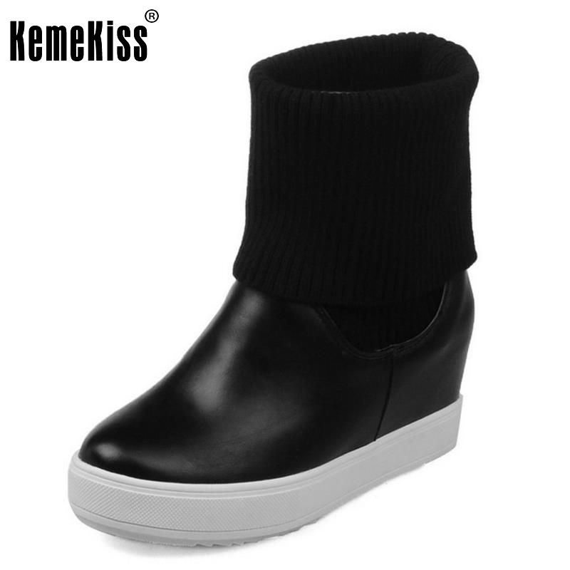 ФОТО Woman Fashion Round Toe Slip On Knit Patchwork Platform Solid Ankle Fashion Boots Women Girls Casual Shoes Size 33-43