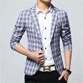 Men Spring Autumn Blazer Jacket Brand Slim Fit Plaid Blazer Suit New Arrival Cotton Fashion Business Dress Suit Blazer F1862
