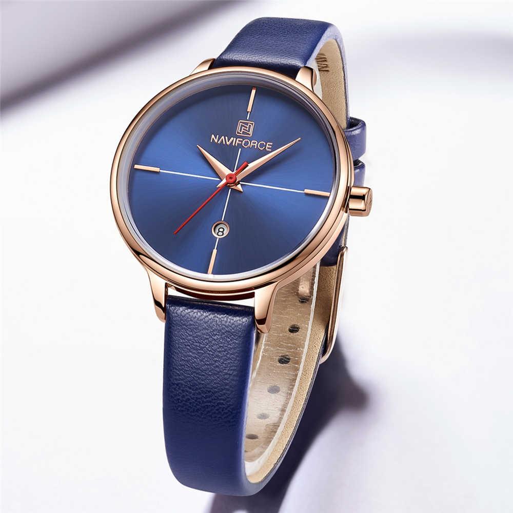 NAVIFORCE женские модные кварцевые часы леди Синий PU ремешок для часов Дата Повседневная 3ATM водонепроницаемые наручные часы подарок для девушки жены женщины 2019