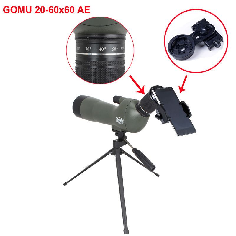 Free Shipping!GOMU Waterproof Angled 20-60x60 Zoom Spotting Scopes Telescope for Bird Watching+Tripod&Cell phone adapter brand gomu 20 60x60 hd zoom high quality precision spotting scope telescope tripod connection mobile phone adapter bird watchin