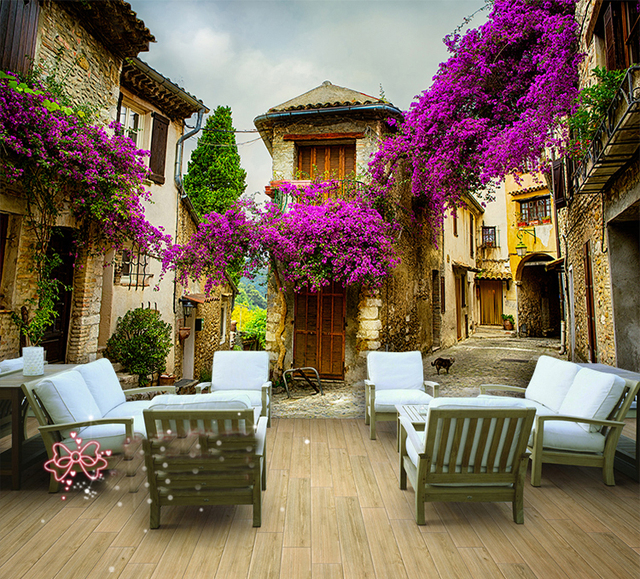 Whole Wall Mural Wallpaper With Flowers Outdoor Building Scenery For Bedding Room Tv Background