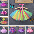Fashion Girls Kids Ball Gown Tutu Skirts Rainbow Colorful Dance Wear Pleated Skirt Costume