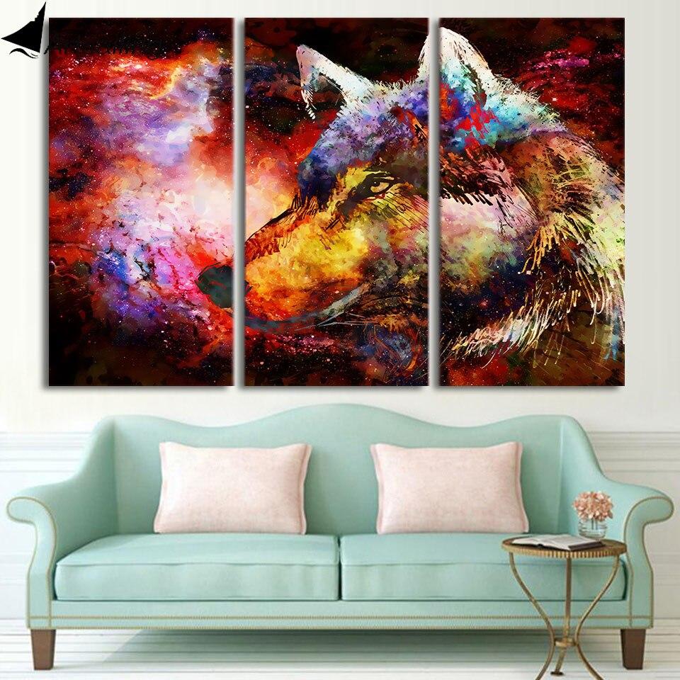 HD Gedruckt 3 Stück Leinwand Kunst Abstrakte Wolf Malerei Psychedelische  Farbe Wandbilder Für Wohnzimmer Freies Verschiffen CU 1821C