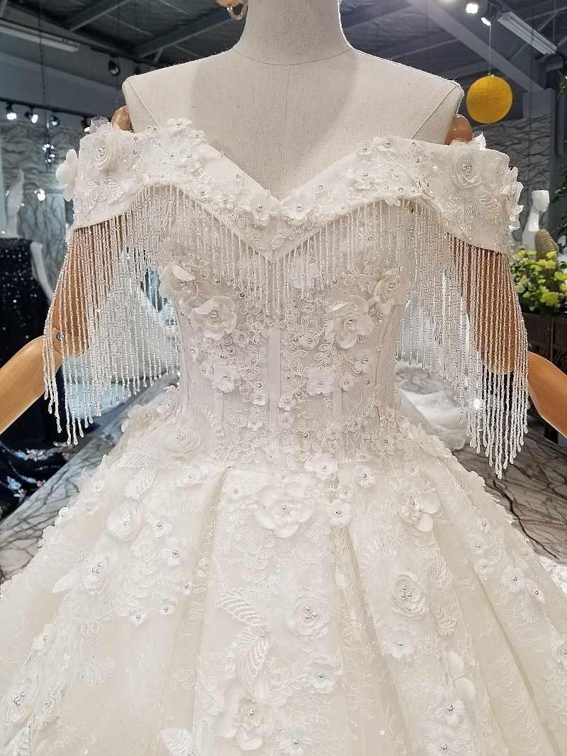 LS547880 от плеча кристалл свадебное платье с бисером возлюбленной 3d цветы свадебные длинные свадебные платья 2018 последний дизайн