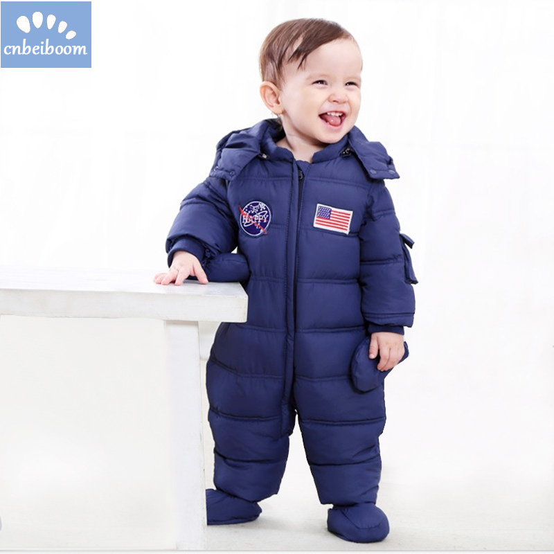 2018 New Winter Baby Rompers Boy Girl Thermal Cotton Snowsuit Newborn Cute Hooded Jumpsuit American flag Clothes Ski Suit kids rompers newborn baby girl duck down winter snowsuit baby cute hooded jumpsuit baby boy clothes ski suit red blue jacket