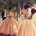 Orange ball vestido vestidos quinceanera 2017 champagne tulle fora do ombro frisada de cristal meninas debutante vestido de vestidos de 15